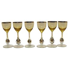 Vintage Set of (6) Atlas Cordials Golden Ball in Stem Pattern Topaz/Yellow Bowl Czechoslovakia 1957 Very Good Condition