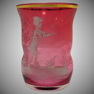 Vintage Cranberry Mary Gregory Tumbler Very Good Condition