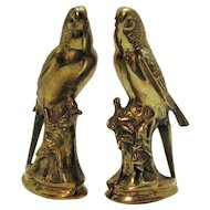 Vintage Pair of Brass Parakeet Figurines Red Rhinestone Eyes 1950s Good Condition