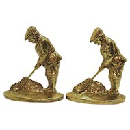 Vintage Brass Golfer Bookends/Door Stops Signed V in Circle Heavy Very Good Condition