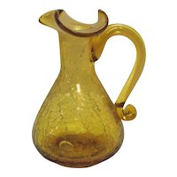 Vintage Pilgrim 1960s Amber Crackle Glass Small Pitcher Good Condition