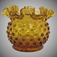 Vintage Fenton Double Crimped Vase with Hobnail Pattern 1959-82 Very Good Condition