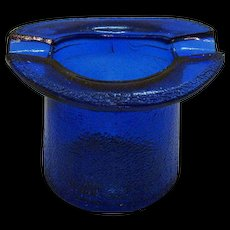 Vintage Cobalt Blue Top Hat/Ashtray by Lowell Hand Cream Deodorant of Piqua Ohio 1950s Good Condition
