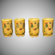 Vintage Napcoware Tumblers with Rooster Motif 1970s Good Condition