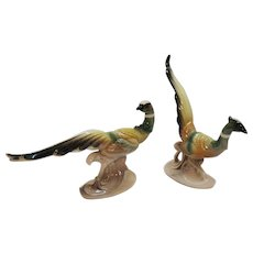 Vintage Royal Copley Pheasant Figurines 1940-50S Very Good Condition