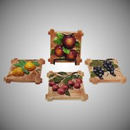 (4) Vintage Lefton Ceramic Wall Fruit Plaques 1953-71 Good Condition