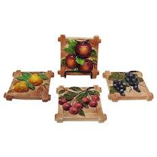 (4) Vintage Lefton Ceramic Wall Fruit Plaques 1953-71 Good Condition