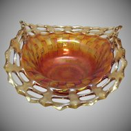Vintage Fenton Bon Bon Dish Basket weave Pattern Open Lacey Edge Marigold Colored 1921-37 Very Good Condition