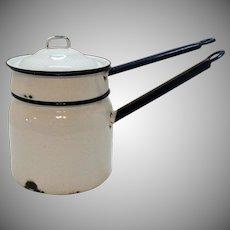 Vintage White Enamel/Granite Ware Double Boiler Cobalt Blue Handles & Rims 1930-40 Used Condition