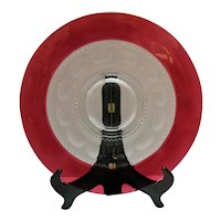 Vintage Ruby Flashed Torte Plate by Tiffin Kings Crown Pattern 1950-62 Good Condition
