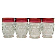 Four Vintage Ruby Single Flashed Flat Tumblers by Tiffin Kings Crown Pattern 1950-62 Very Good Condition