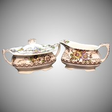 Vintage Alfred Meakin Sugar & Creamer Medway Décor Pattern 1945-60 Good Condition