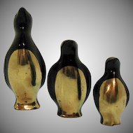 Vintage Set of Three Brass Penguins Made in Korea 1950s Good Condition
