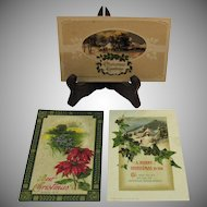 Three Vintage John Winsch Christmas Post Cards 1910-1913-1915 Good Condition