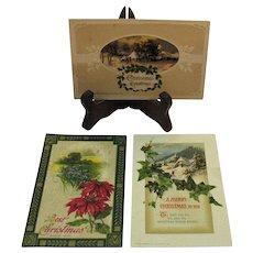 Three Vintage John Winsch Christmas Post Cards 1910-1913-1915 Good Condition