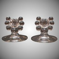 Vintage Duncan & Miller Candle Holders Tear Drop Pattern 1936-55 Very Good Condition