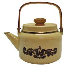 Vintage Pfaltzgraff Enamelware Teapot 1970s Village Pattern Good Condition