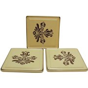 Vintage Pfaltzgraff Set of Three Square Trivets 1970s Village Pattern Good Vintage Condition