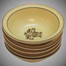 Vintage (5) Pfaltzgraff Rim Fruit/Dessert Bowls 1970s Village Pattern Good Condition