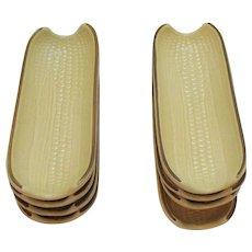 Vintage Pfaltzgraff (8) Boiled Corn Buttering Holder 1970s Village Pattern Very Good Condition