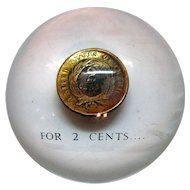 Vintage Lucite Paperweight with 1864 2 Cent Coin Imbedded Good Condition