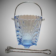 Vintage Hard to Find Cambridge Caprice Ice Bucket with Tongs Moonlight Blue 1940-57 Very Good Condition