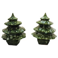 Vintage Christmas Ceramic Trees Hors D'oeuvre Holders 1960s Very Good Condition