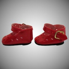 Vintage Red Doll Soft Plastic Shoes Very Good Condition