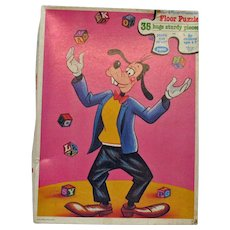 Vintage Walt Disney Large Floor Puzzle of Goofy the Juggler 1980s Complete