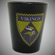 Vintage Minnesota Viking Advertising Black Shot Glass by Libbey 1980s Very Good Condition
