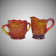 Vintage Indiana Glass co. Carnival Glass Sugar & Creamer 1970s Iridescent Sunset Heirloom Pattern