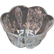 Vintage Duncan & Miller Crystal 2 Part Salad Dressing Bowl Remembrance Etching 1948-53 Very Good Condition