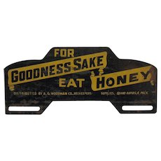 Vintage Metal Honey License Plate Topper 1940-50s Good Condition