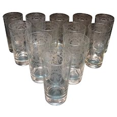 Vintage Cambridge (12) High Ball Bar Glasses with Lotus Glass Co Etching Bridal Bouquet 1940-50s Very Good Condition