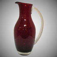 Vintage 1960s Ruby Red Glass Picher Applied Handle Good Condition