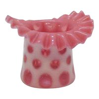 Vintage Fenton Coin Dot Cranberry Top Hat 1947-64 Very Good Condition