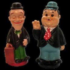 Vintage Stan Laurel & Oliver Hardy Plastic Banks Play Pal Plastics, Inc. 1972 Very Good Condition