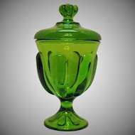 Vintage Viking Emerald Green Covered Candy Dish Epic Line 6 Petal Green 1960-70s Good Condition