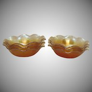 Vintage Jeannette 6 Ruffled Fruit Bowls in the Louisa Iridescent Floragold Pattern 1950s Good Condition