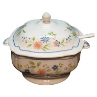 Vintage Federalist Ironstone Soup Tureen & Ladle Floral Motif 1960-70s Very Good Condition