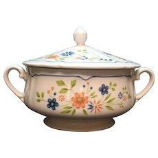 Vintage Federalist Ironstone Covered Round Vegetable Bowl Floral Motif 1960-70s