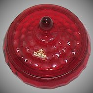 Vintage Viking Ruby Candy Dish with Lid Georgian Pattern 1940-98 Very Good Condition