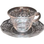 Vintage 4 Fostoria Crystal Cup & Saucer Sets Navarre Etching 1936-82 Very Good Condition