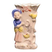Vintage Small Ceramic Bud Vase Young Woman Motif 1940-50s Good Condition