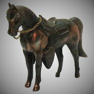 Vintage Small Pot Metal Souvenir Horse with Copper Wash the Grotto of the Redemption 1940-50s Good Condition