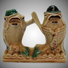 Vintage Regal China Co. for C. Miller Mr.  & Mrs. Limpet Fish S&P Shakers Single Base 1940-50s Good Condition