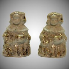 Vintage Regal China Co. Goldilocks S&P Shakers Gold Speckled Paint 1940s Very Good Condition