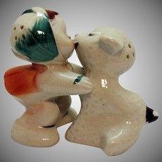 Vintage VanTellingen Mary with White Lamb Hugger S&P Shakers 1950s Regal China Co. Good Condition