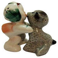 Vintage VanTellingen Hugging/Kissing Mary & Gray Lamb by Regal China Co. 1950s Good Condition