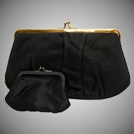 Vintage Garay Framed Double Clutch Rhinestone Evening Bag or Purse with Original Coin Purse